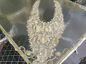 Antique Vintage Edwardian Victorian Large Hand Made Irish Crochet Lace Collar