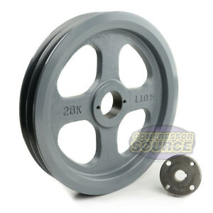 Cast Iron 10 75 2 Groove Dual Belt B Section 5l Pulley With 5 8 Sheave Bushing