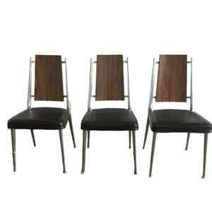 Mid Century Eames Era Chromcraft Dinette Set 3 Black Vinyl Wood Chairs Chrome