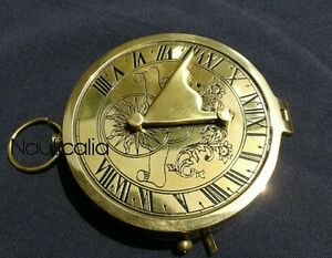 Brass Compass Sundial 3 Inch Antique Vintage Style Gift Pocket Transit Compass