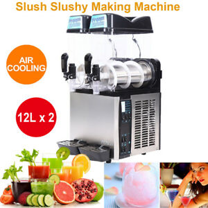 24l Commercial Frozen Drink Slushy Making Machine Smoothie Ice Maker 12l 2 Tanks