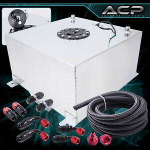 60l 15 Gallons Aluminum Fuel Cell Tank W Black Cap Oil Line 10an Fitting