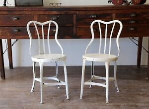 2 Vintage Factory Uhl Steel Furniture Toledo Soda Fountain Stool Chairs Drafting