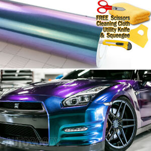 Super Gloss Metallic Chameleon Purple Blue Teal Vinyl Film Wrap Air Bubble Free