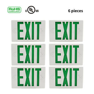 6pcs Green Emergency Light Exit Sign With Battery Back up ul Listed Indoor Home