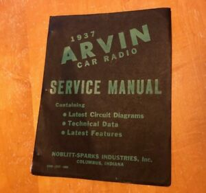 37 Arvin Car Radio Manual Cover 1 Page Ford Plymouth Buick Dodge Olds Ih Chevy