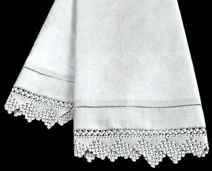Antq Victorian Lilies Damask Linen Bath Towel Huge Show Towel 48x23 W Lace Trim