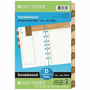 Day timer 2019 Daily Planner Refill 5 1 2 X 8 1 2 Desk Size 4 Two Pages Per