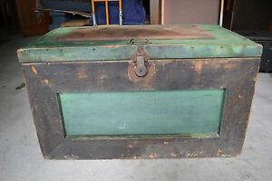 Antique Wood Steamer Trunk Tool Chest Victorian Coffee Table Base
