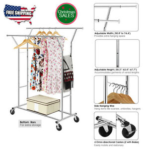 Adjustable Double Heavy Duty Rail Clothes Hanger Rolling Garment Rack Holder Us