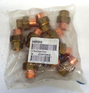Fastenal 3 4 Wrot Copper Union Fitting 0450242 Solder Joint Lot Of 10