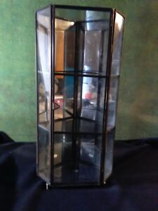 Vintage Metal And Glass Mirrored Small Curio Display Cabinet W Door Pre Owned