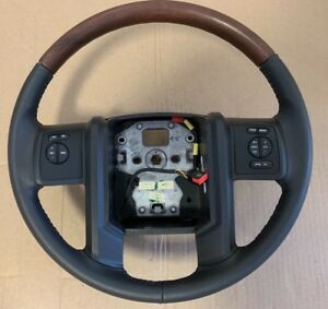 New Oem 09 14 Ford Expedition Steering Wheel Black Leather W Wood 9l1z3600kb
