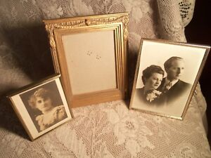 Lot Of Three Brass And Wood Picture Frames