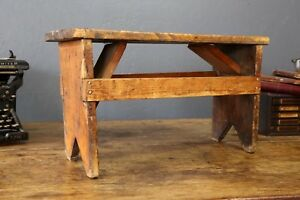 Small Vintage Bench Foot Stool Rustic Decor Farmhouse Child Stool Primitive Wood