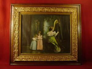 Large Antique Oak Gold Gesso Frame 25x29 With Victorian Harp Recital Print