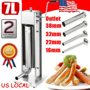 7l Vertical Commercial Sausage Stuffer 2 Speed 304 Stainless Steel Meat Press Us