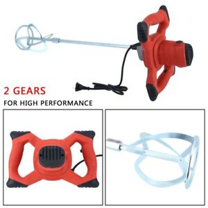 110v Electric Mortar Mixer 1500w Dual High Low 6 Speed Gear Cement Grout Red Xg