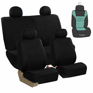 Full Set Seat Covers Set For Car Suv Van Truck With Air Freshener Solid Black