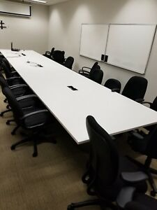 24ft White Lami Conference Table W Power And Data Ports local Pickup Only