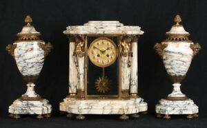 Antique Mantle Clock French Marble Garniture Clocks With Urns