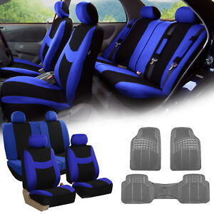Blue Black Car Seat Covers Full Set For Auto W 4 Headrests Rubber Floor Mat
