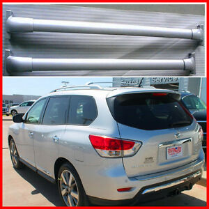 For 13 18 Nissan Pathfinder Cross Bar Bolt On Oe Style Silver Painted Luggage