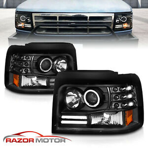 1992 1996 Projector Black Headlight For Ford Bronco f150 f250 f350 led Halo