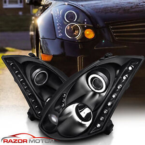 2003 2007 Led Projector Black Headlights Pair Ccfl Halo For Infiniti G35 Coupe