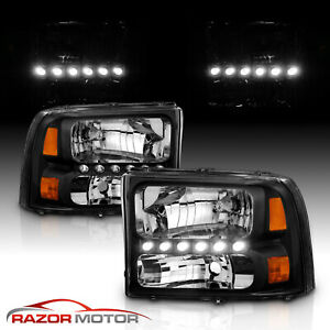 1999 2004 Black Headlight For Ford F250 f350 Superduty Excursion led Drl