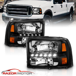 1999 2004 For Ford F250 F350 Superduty Excursion Led Black Harley Headlight