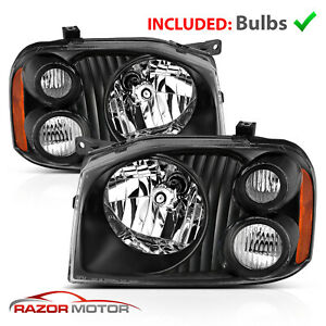 2001 2004 Replacement Black Headlight Pair For Nissan Frontier With Hi lo Bulb