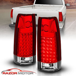 1988 1999 Red Clear Led Tail Light Set Chevy Gmc C10 C K Silverado Tahoe Sierra