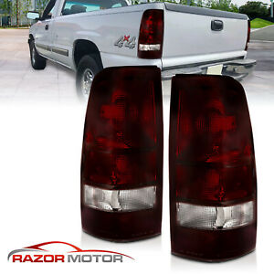 1999 2002 Chevy Silverado 1999 2006 Gmc Sierra Dark Red Rear Brake Tail Lights