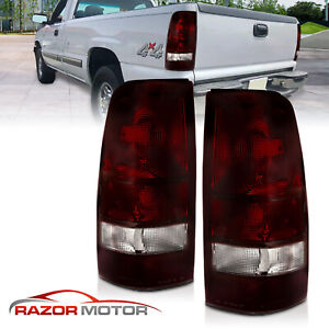 1999 2002 Dark Red Rear Tail Lights Pair Chevy Silverado 1999 2006 Gmc Sierra