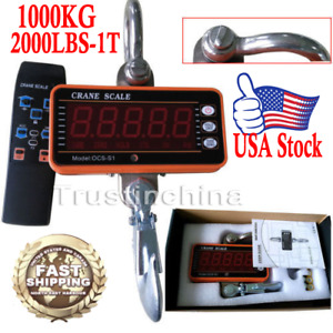 High Precision 1000kg 2000lbs 1t Aluminum Digital Crane Scale Heavy Duty Hanging