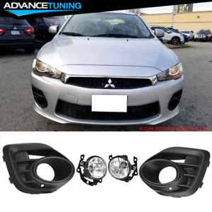 Fits 15 17 Mitsubishi Lancer Oe Style Black Direct Replacement Fog Lights Pair