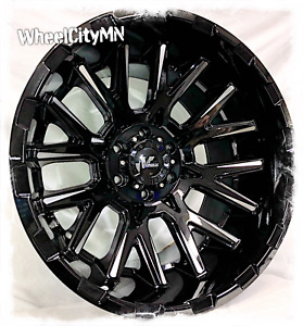 20 X12 Inch Gloss Black Milled Vrock Vr10 Wheels Fits Lifted Toyota Tundra 5x150