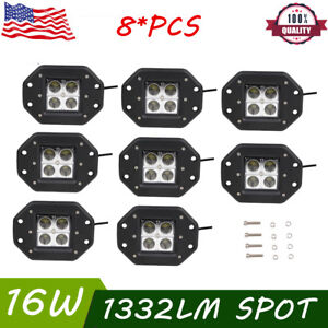 8x 16w Spot Led Work Lights Flush Mount Jeep Boat Truck 4wd Car Driving Lights