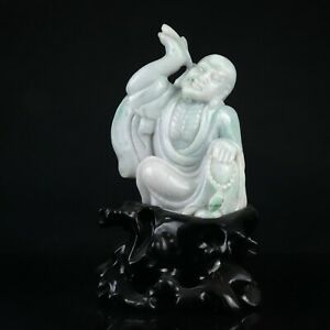 Chinese Exquisite Hand Carved Buddha Carving Jadeite Jade Statue