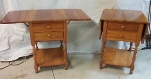 Pair Of Harden Penfield Traditional Solid Cherry End Tables