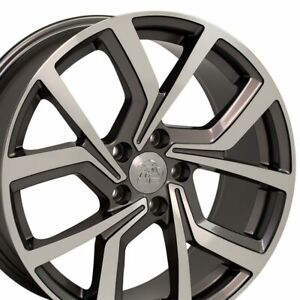 18 Rims Fit Volkswagen Gti Jetta Eos Cc Passat Gunmetal Machd Wheel Et 42 Set