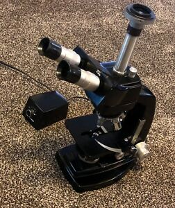 Microscope Bioliogical Bausch And Lomb w Light Power Dimmer Camera Mount