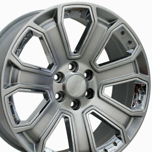 20 Rims Fit Gm Chevy Sierra Silverado Wheels Hyper Black W Chrome 5661 Set Of 4