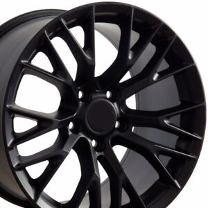 18x10 5 17x9 5 Rims Fit Corvette Camaro C7 Z06 Satin Black Wheel 5734 Set Of 4