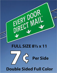 600 Full Size Every Door Direct Mail Double sided Full Color