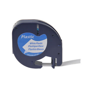 20pk Plastic Label Tape Fit For Dymo Letra Tag Lt 91331 Black On White 12mm