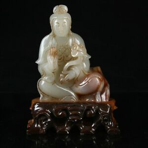 Chinese Exquisite Hand Carved Guanyin Carving Hetian Jade Statue