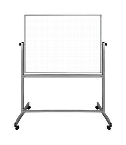 Luxor 48 w X 36 h Mobile Magnetic Double sided Ghost Grid Dry Erase Whiteboard