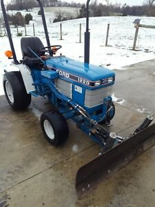 Ford 1220 Diesel Compact Tractor W 60 Inch Hydraulic Snow Plow Ex Cond